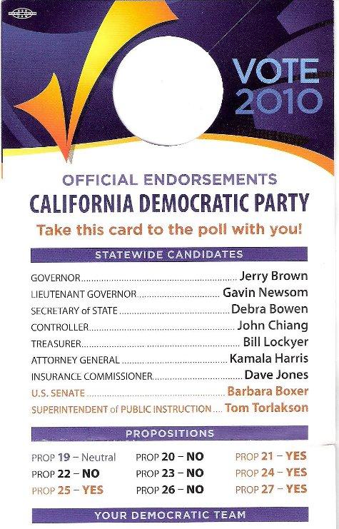 California Democratic Endorsements